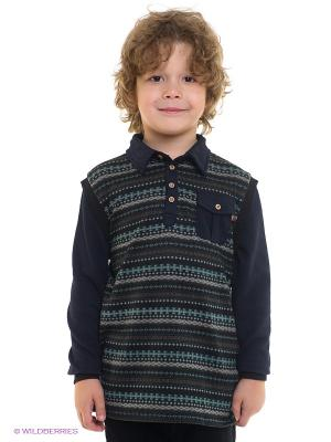 Лонгслив L/S Nordic Print Polo Fore!! Axel and Hudson. Цвет: черный, синий