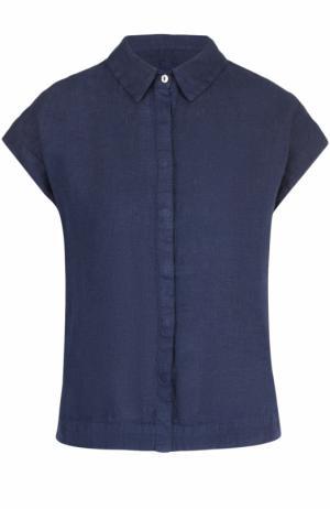 Льняная блуза прямого кроя с коротким рукавом 120% Lino. Цвет: темно-синий
