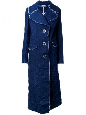 Джинсовое однобортное пальто Natasha Zinko. Цвет: синий