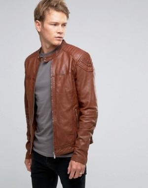 Goosecraft Светло-коричневая кожаная байкерская куртка. Цвет: рыжий