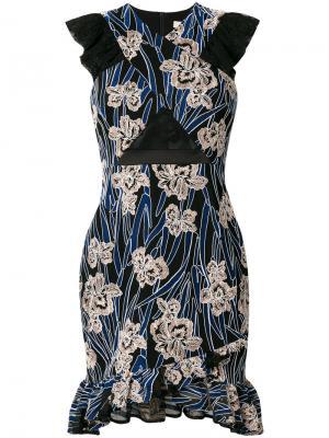 Платье Paradiso с цветочным принтом Three Floor. Цвет: синий