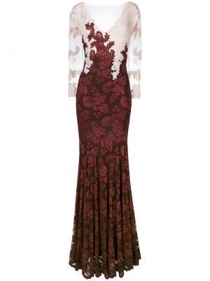 Расклешенное платье с кружевной вышивкой Olvi´S. Цвет: красный