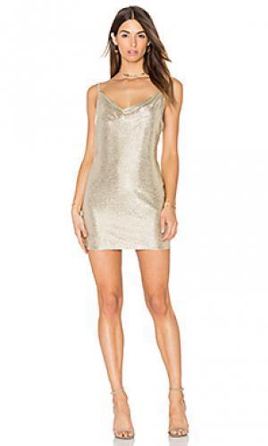 Платье bowie Amanda Uprichard. Цвет: металлический золотой