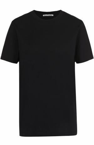 Хлопковая футболка прямого кроя с круглым вырезом Acne Studios. Цвет: черный