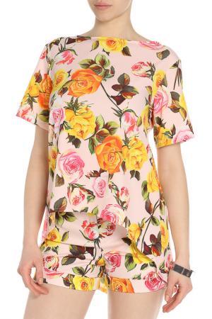Костюм: блуза, шорты Adzhedo. Цвет: персиковый, желтые цветы