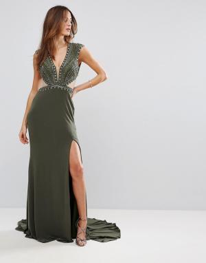 Forever Unique Платье макси с глубоким вырезом. Цвет: зеленый