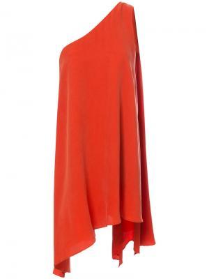 Свободное платье на одно плечо C/Meo. Цвет: жёлтый и оранжевый
