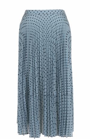 Плиссированная юбка-миди в горох Markus Lupfer. Цвет: синий
