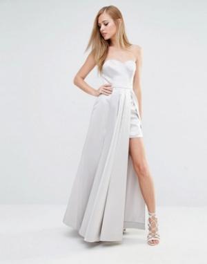 Fame and Partners Атласное платье макси для выпускного. Цвет: зеленый