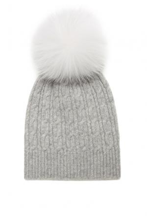 Шапка из кашемира с помпоном меха песца 156530 Fashion Cashmere. Цвет: серый