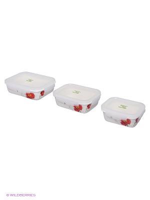 Набор контейнеров МАК (370, 630, 920 мл) Frybest. Цвет: белый, красный