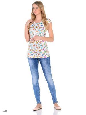 Блузка для беременных и кормления 40 недель. Цвет: оранжевый, белый, желтый