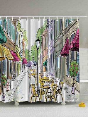 Фотоштора для ванной Бокал цветочного вина, 180*200 см Magic Lady. Цвет: белый, желтый, зеленый, фиолетовый, фуксия, черный