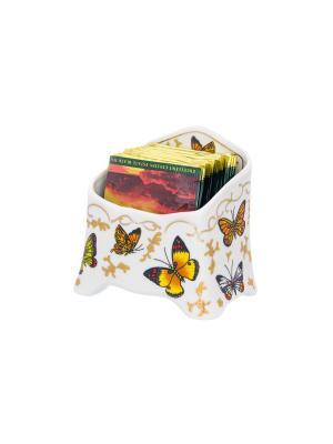 Подставка для чайных пакетиков Бабочки Elan Gallery. Цвет: желтый, белый, красный