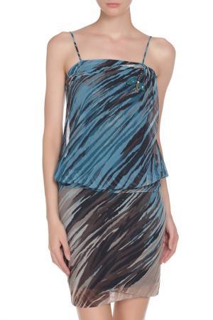 Платье LIU-JO. Цвет: коричневый, синий микс