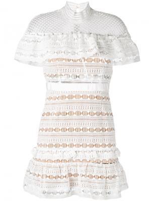 Платье с кружевной отделкой Self-Portrait. Цвет: белый