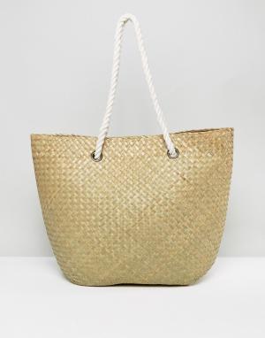 South Beach Соломенная пляжная сумка. Цвет: бежевый