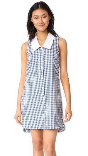 Платье Bridget RUKEN. Цвет: синий в клетку гингем/белое кружевное шитье