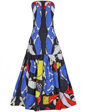 Хлопковое платье Tata Naka. Цвет: синий, желтый, красный, черный, белый