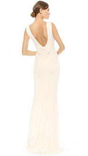 Вечернее платье с бантом на спине Badgley Mischka Collection. Цвет: золотой