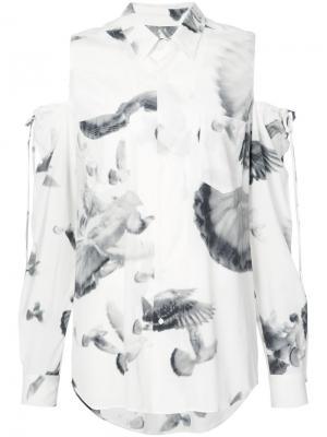 Рубашка с открытыми плечами A.F.Vandevorst. Цвет: белый