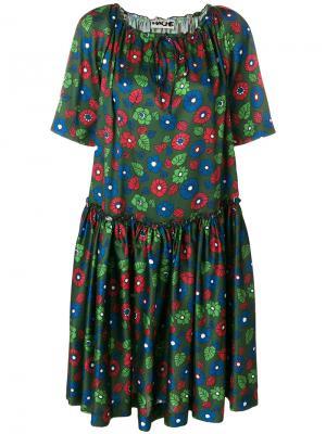 Расклешенное платье с цветочным принтом Hache. Цвет: зелёный