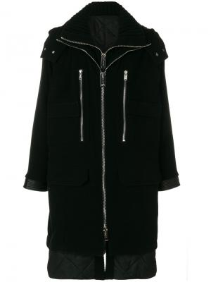 Многослойное пальто с капюшоном Les Hommes. Цвет: чёрный