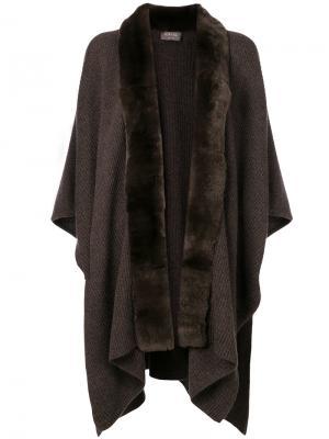 Пальто с кроличьим мехом N.Peal. Цвет: коричневый