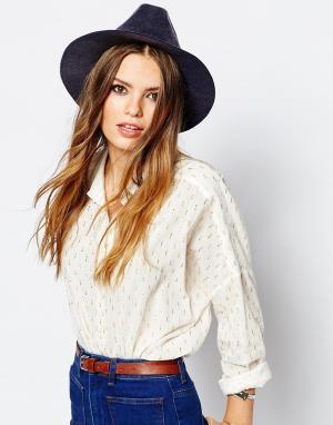 Catarzi Мягкая фетровая шляпа в винтажном стиле с замшевой лентой. Цвет: синий