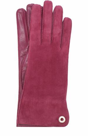 Перчатки Jacqueline из кожи и замши Loro Piana. Цвет: бордовый