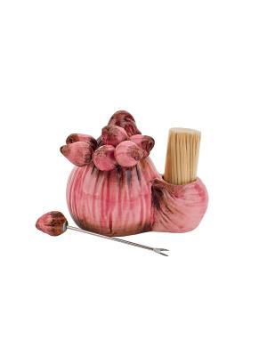 Подставка для зубочисток Лук репчатый-Бабушкины соленья Elff Ceramics. Цвет: розовый