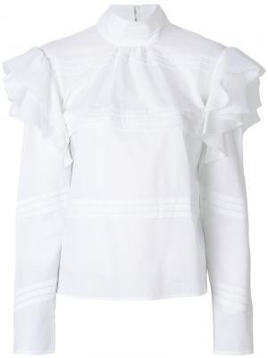 Топ с оборками на рукавах Dondup. Цвет: белый
