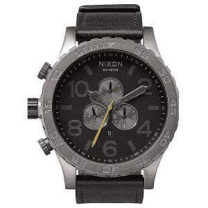 Кварцевые часы  51-30 Chrono Leather All Gunmetal/Black Nixon. Цвет: серый,черный