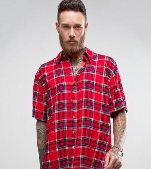 Reclaimed Vintage Фестивальная рубашка классического кроя с короткими рукавами. Цвет: красный