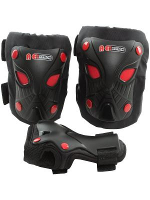 Набор защиты для катания на роликах или скейтборде Re:action. Цвет: черный, красный