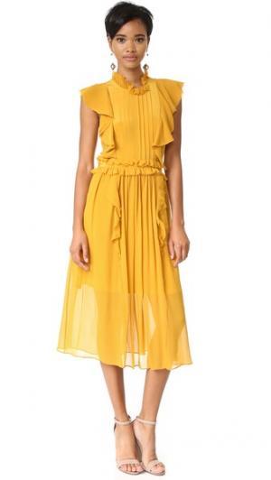 Шелковое платье Florence Marissa Webb. Цвет: календула