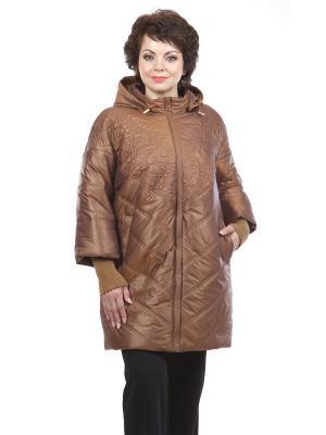 Утеплённое пальто Lanicka. Цвет: светло-коричневый