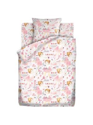 Комплект постельного белья 1,5 бязь Балерины Кошки-Мышки. Цвет: розовый, белый