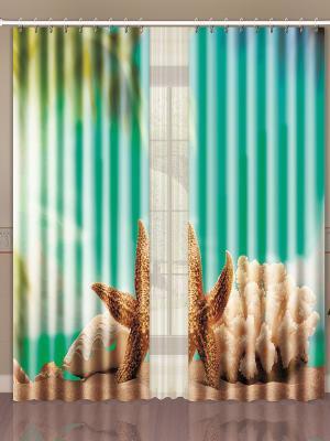 Штора Digital Пакет ARYA. Цвет: лазурный, светло-зеленый, светло-коричневый
