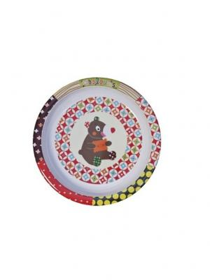 Тарелочка Мишка Ebulobo. Цвет: темно-коричневый, красный, светло-желтый