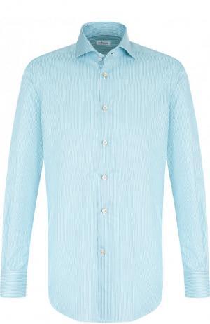 Хлопковая рубашка с воротником кент Kiton. Цвет: бирюзовый