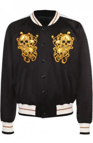 Бомбер из смеси хлопка и шелка с контрастной вышивкой лампасами Alexander McQueen. Цвет: черный