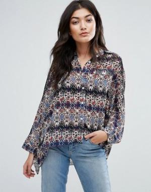 Jasmine Свободная pубашка с принтом. Цвет: синий