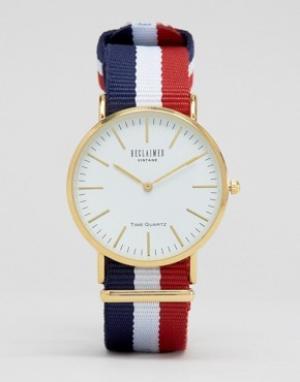 Reclaimed Vintage Часы с белым циферблатом и парусиновым ремешком в полоску Vi. Цвет: мульти