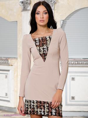 Платье Marlen. Цвет: бежевый, черный, коричневый