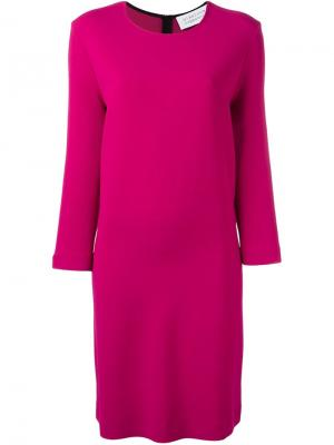 Платье шифт с круглым вырезом Gianluca Capannolo. Цвет: розовый и фиолетовый