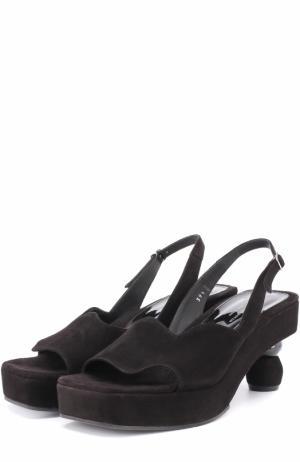 Замшевые босоножки на устойчивом каблуке Dries Van Noten. Цвет: черный