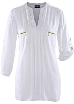 Блузка с воротником-стойкой (белый) bonprix. Цвет: белый