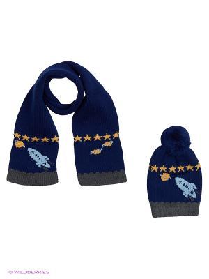 Комплект детский (шапка,шарф) R&I. Цвет: синий
