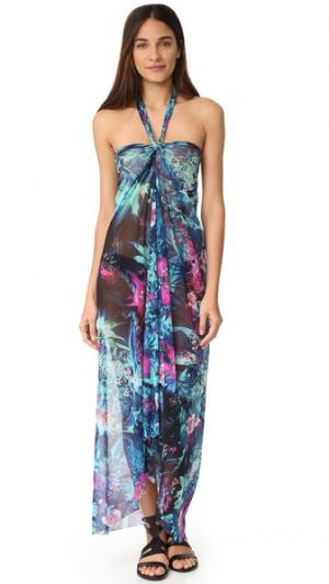 Длинное платье с цветочным принтом и завязками уздечкой Fuzzi. Цвет: бирюзовый